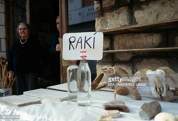 Raki for sale anise and mint flavoured brandy Axos Crete Greece