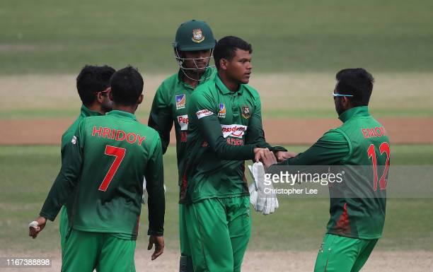 Rakibul Hasan of Bangladesh celebrates taking the wicket of Divyansh Saxena of India scores more runs during the Under 19 Tri-Series Final match...