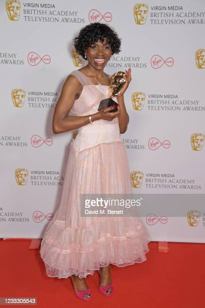 """Rakie Ayola, winner of the Best Support Actress award for her role in """"Anthony"""", poses in the Winners Room at the Virgin Media British Academy..."""