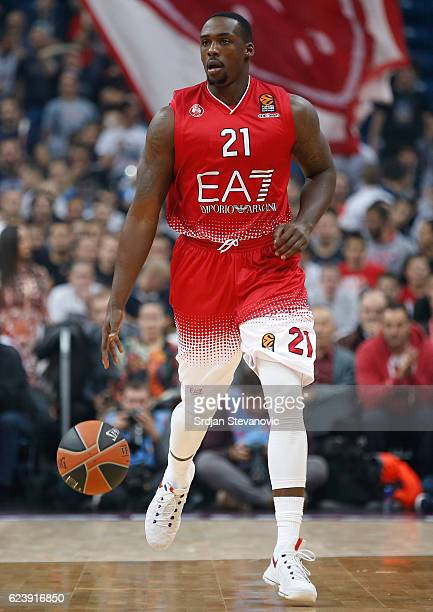 Rakim Sanders of Armani in action during the 2016/2017 Turkish Airlines EuroLeague Regular Season Round 8 game between Crvena Zvezda MTS Belgrade...