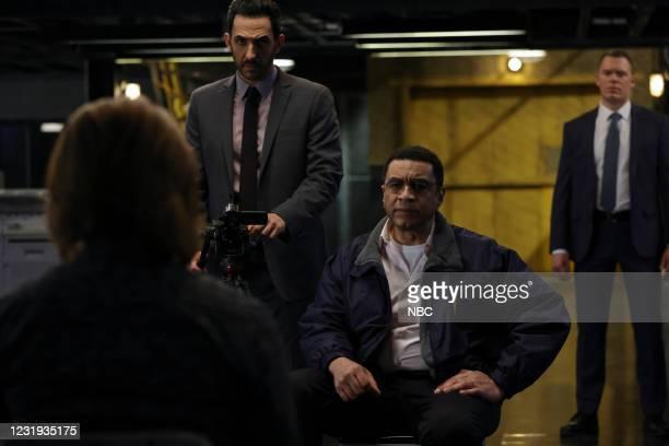 "Rakitin "" Episode 812 -- Pictured: Amir Arison as Aram Mojtabai, Harry Lennix as Harold Cooper, Diego Klattenhoff as Donald Ressler --"