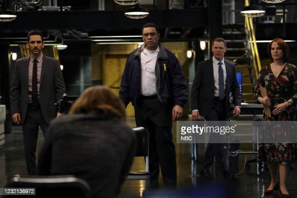 "Rakitin "" Episode 812 -- Pictured: Amir Arison as Aram Mojtabai, Seth Numrich as Rakitin, Harry Lennix as Harold Cooper, Diego Klattenhoff as Donald..."