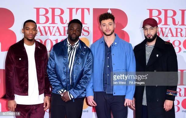 RakSu's Ashley Fongo Jamaal Shurland Mustafa Rahimtulla and Myles Stephenson attending the Brit Awards at the O2 Arena London