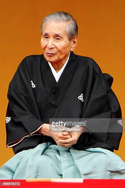 Rakugo performer Katsura Beicho performs on January 2 2012 in Osaka Japan