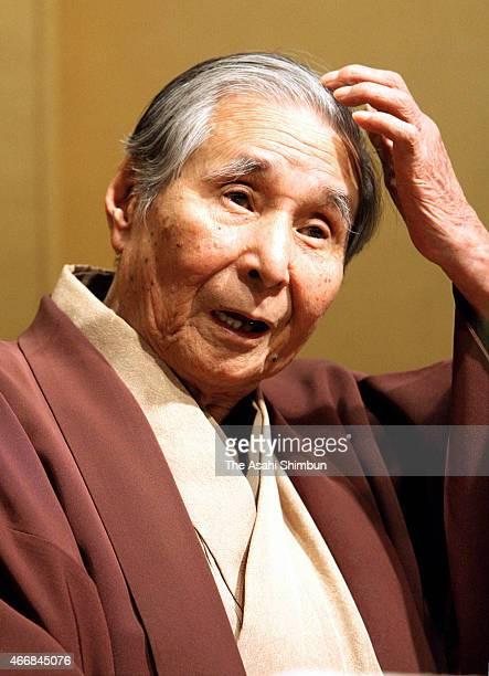 Rakugo performer Katsura Beicho speaks to media reporters on October 23 2009 in Osaka Japan