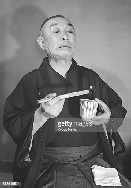 Rakugo performer Katsura Bunraku performs on January 5 1953 in Japan