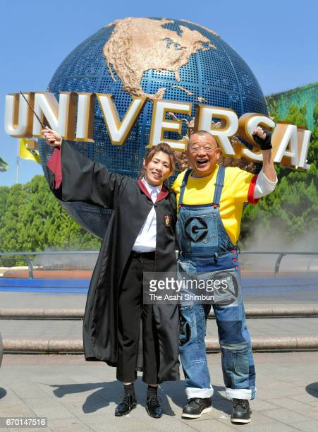 Rakugo performer Shofukutei Tsurube and wrestling olympic gold medalist Saori Yoshida attend the opening ceremony of the new attraction 'Minion Park'...