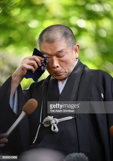 Rakugo performer Yanagiya Kosan X speaks after attending the farewell ceremony for late film director Isao Takahata at Ghibli Museum on May 15, 2018...