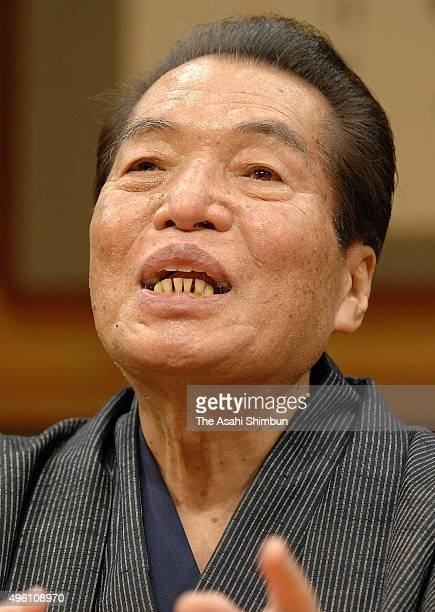 Rakugo storyteller Sanyutei Enraku V performs onstage at the National Theatre on February 25 2007 in Tokyo Japan