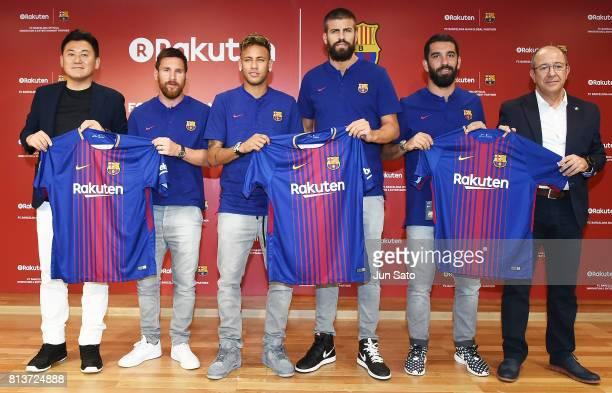 Rakuten CEO Hiroshi Mikitani Lionel Messi Neymar Jr Gerard Pique Arda Turan and Manel Arroyo attend the press conference for Rakuten FC Barcelona...
