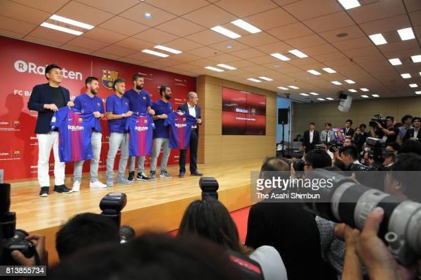 Rakuten CEO Hiroshi Mikitani Lionel Messi Neymar Jr Gerard Pique Arda Turan and Barcelona Vice President for Marketing and Communication Manel Arroyo...