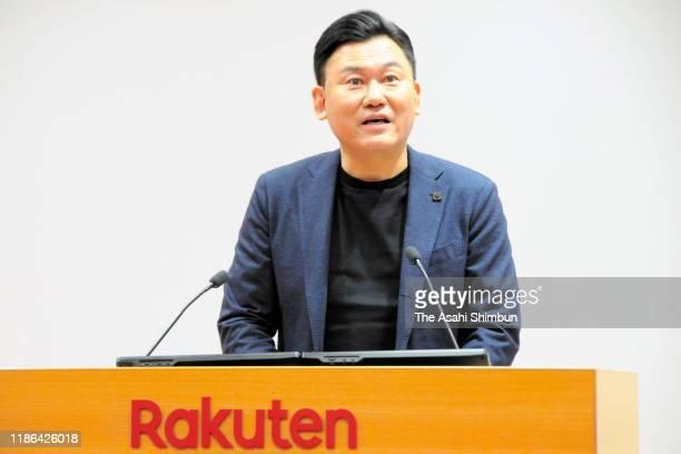 Rakuten CEO Hiroshi Mikitani speaks during a press conference on November 7, 2019 in Tokyo, Japan.