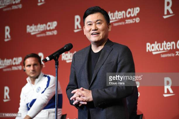 Rakuten president Hiroshi Mikitani speaks during the Rakuten Cup international friendlies reception on July 21, 2019 in Tokyo, Japan.
