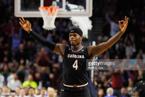 Rakym Felder of the South Carolina Gamecocks reacts in the second half against the Duke Blue Devils during the second round of the 2017 NCAA Men's...