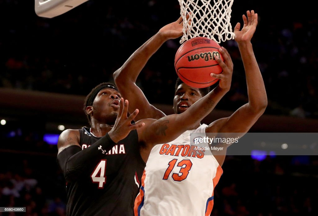 Rakym Felder #4 of the South Carolina Gamecocks shoots the ball against Kevarrius Hayes #13 of the Florida Gators during the 2017 NCAA Men's Basketball Tournament East Regional at Madison Square Garden on March 26, 2017 in New York City.