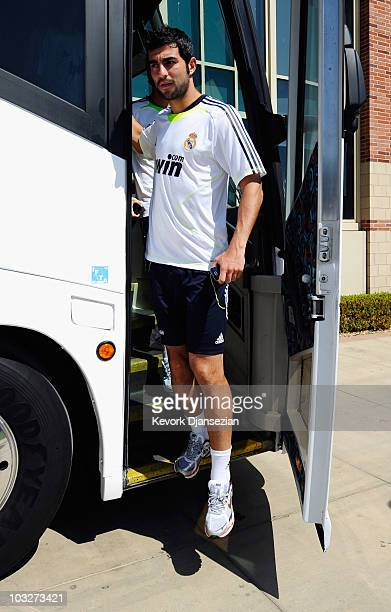 Raúl Albiol of Real Madrid arrives to participate in the Adidas training with local youth soccer players on August 5 2010 in the Westwood section of...