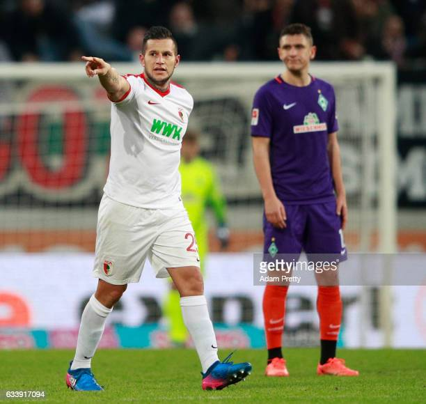 Ral Bobadilla of Augsburg points during the Bundesliga match between FC Augsburg and Werder Bremen at WWK Arena on February 5 2017 in Augsburg Germany