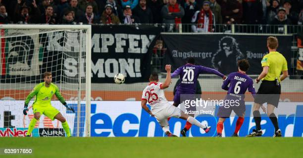 Ral Bobadilla of Augsburg scores the winning goal during the Bundesliga match between FC Augsburg and Werder Bremen at WWK Arena on February 5 2017...