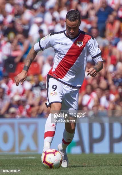 Raúl de Tomás Gómez forward of Rayo Vallecano de Madrid with the ball during the Liga match between Rayo Vallecano de Madrid and Deportivo Alaves at...