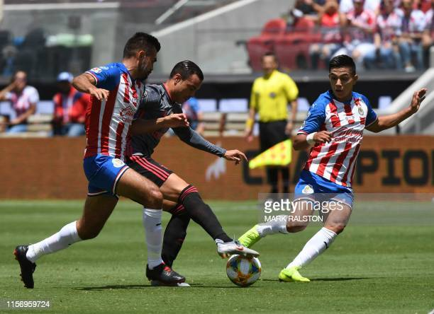 Raúl de Tomás of Benfica controls the ball against Chivas de Guadalajara during their 2019 International Champions Cup match at the Levi's Stadium in...
