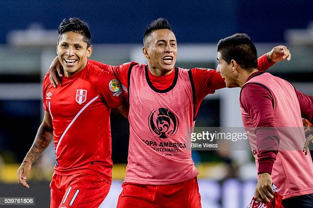 Raúl Ruidíaz of Peru celebrates with teammates after winning a group B match between Brazil and Peru at Gillette Stadium as part of Copa America...