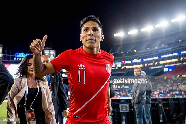 Raúl Ruidíaz of Peru gives a thumb up after a group B match between Brazil and Peru at Gillette Stadium as part of Copa America Centenario US 2016 on...