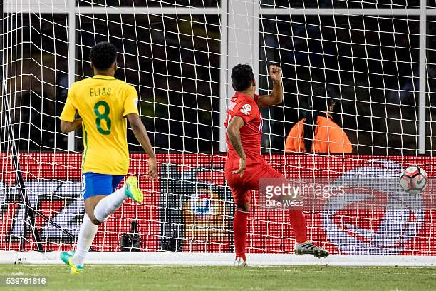 Raúl Ruidíaz of Peru scores the opening goal during a group B match between Brazil and Peru at Gillette Stadium as part of Copa America Centenario US...