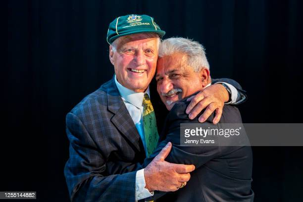Rale Rasic former Australian association football player coach and media personality and host Andy Paschalidis pose for a photo after a live FFA...