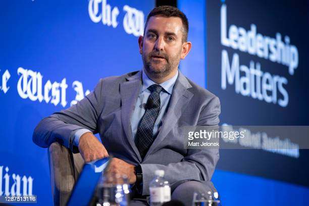 Raleigh Finlayson Saracen Mineral Holdings Managing Director speaks on stage during the Leadership Matters Breakfast on November 25 2020 in Perth...
