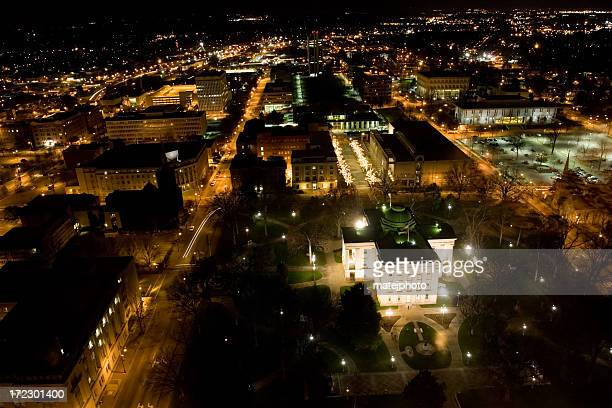 raleigh night bird view - raleigh north carolina stock pictures, royalty-free photos & images