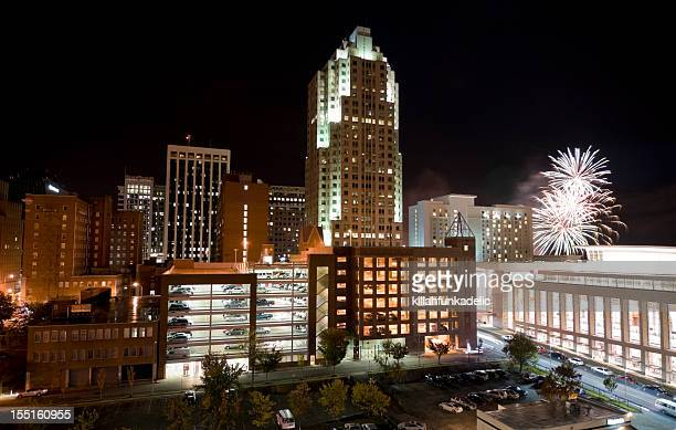 Raleigh North Carolina Downtown with Fireworks