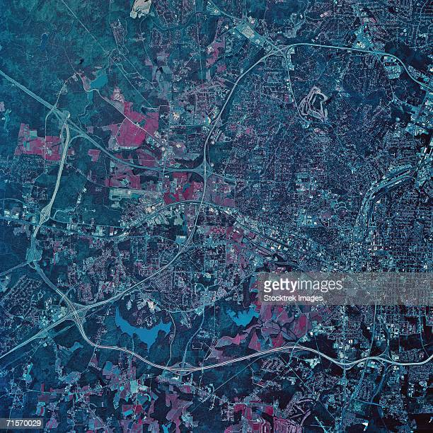 """raleigh, north carolina, satellite image"" - raleigh north carolina stock pictures, royalty-free photos & images"