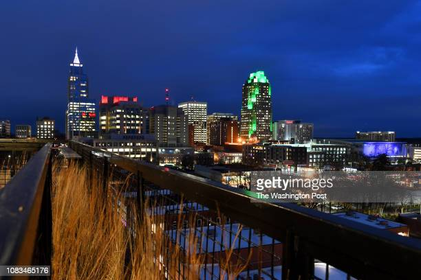 Raleigh's downtown skyline is seen from The Dillion's ninth floor lobby terrace open to the public January 02 2019 in Raleigh NC The convention...