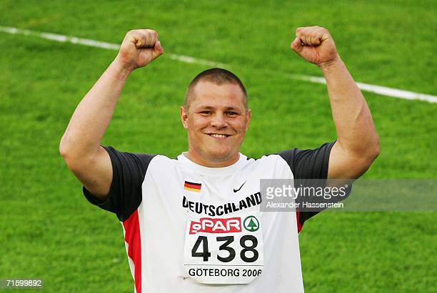Ralf Bartels of Germany celebrates as he wins gold during the Men's Shot Putt Final on day one of the 19th European Athletics Championships at the...