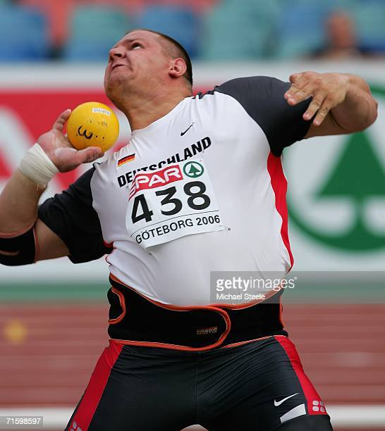 Ralf Bartels of Germany competes during the men shot put on day one of the 19th European Athletics Championships at the Ullevi Stadium on August 7...