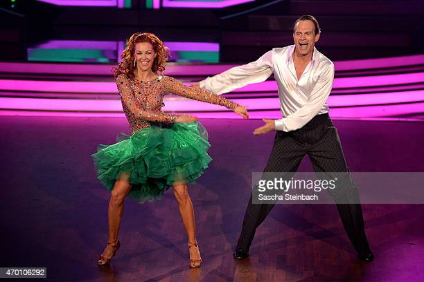 Ralf Bauer and Oana Nechiti perform on stage during the 5th show of the television competition 'Let's Dance' on April 17 2015 in Cologne Germany