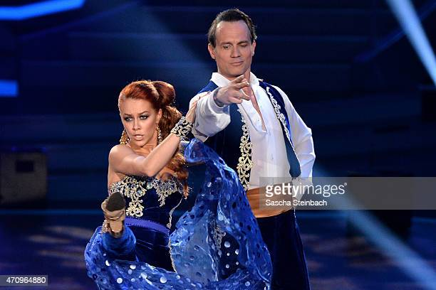 Ralf Bauer and Oana Nechiti perform on stage during the 6th show of the television competition 'Let's Dance' on April 24 2015 in Cologne Germany