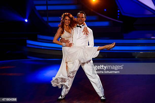 Ralf Bauer and Oana Nechiti perform on stage during the 7th show of the television competition 'Let's Dance' on May 1 2015 in Cologne Germany