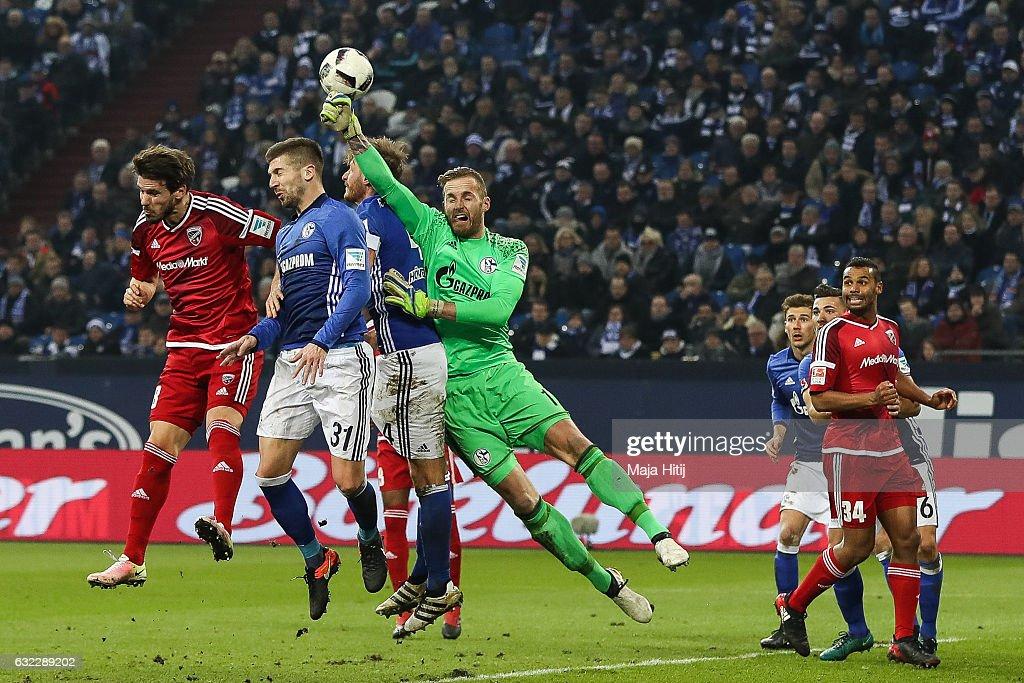 Ralf Faehrmann goalkeeper of Schalke clears the ball during the Bundesliga match between FC Schalke 04 and FC Ingolstadt 04 at Veltins-Arena on January 21, 2017 in Gelsenkirchen, Germany.