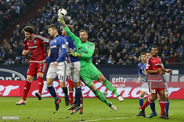Ralf Faehrmann goalkeeper of Schalke clears the ball during the Bundesliga match between FC Schalke 04 and FC Ingolstadt 04 at VeltinsArena on...