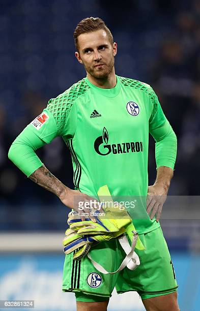 Ralf Faehrmann goalkeeper of Schalke looks dejected after the Bundesliga match between FC Schalke 04 and Eintracht Frankfurt at VeltinsArena on...