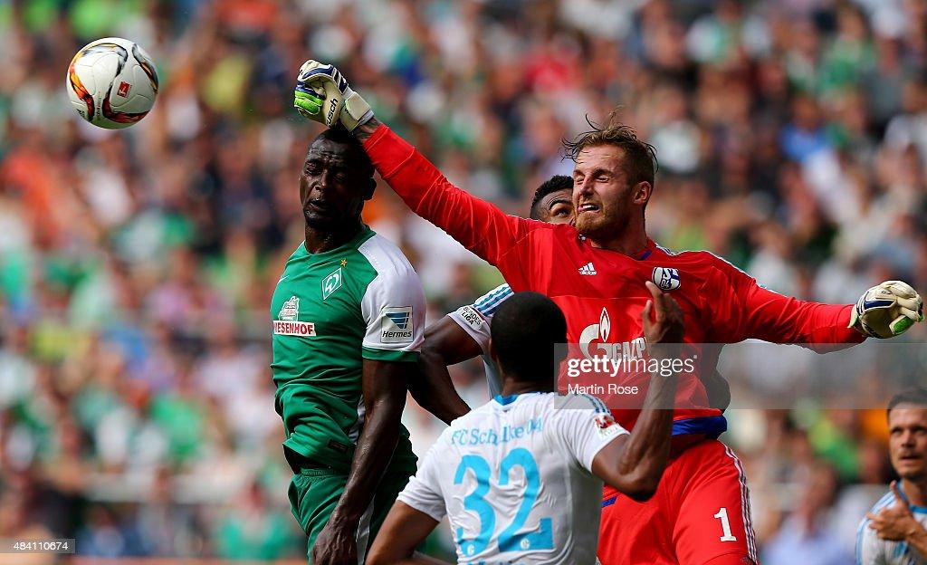 Ralf faehrmann, goalkeeper of Schalke makes a save during the Bundesliga match between SV Werder Bremen and Schalke 04 at Weserstadion on August 15, 2015 in Bremen, Germany.
