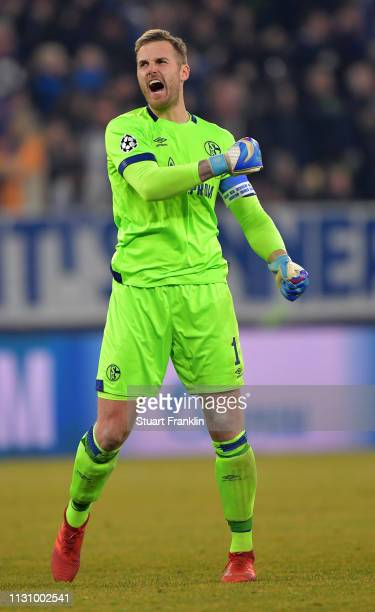 Ralf Faehrmann goalkeepr of Schalke celebrates his team's 2nd goal during the UEFA Champions League Round of 16 First Leg match between FC Schalke 04...