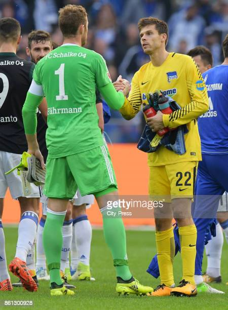 Ralf Faehrmann of FC Schalke 04 and Rune Almenning Jarstein of Hertha BSC after the game between Hertha BSC and Schalke 04 on october 14 2017 in...