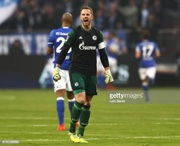 Ralf Faehrmann of Schalke 04 celebrates the first goal during the Bundesliga match between FC Schalke 04 and Hamburger SV at VeltinsArena on November...