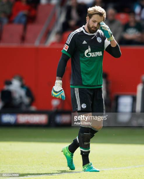 Ralf Faehrmann of Schalke 04 is dejected during the Bundesliga match between FC Ingolstadt 04 and FC Schalke 04 at Audi Sportpark on May 20 2017 in...
