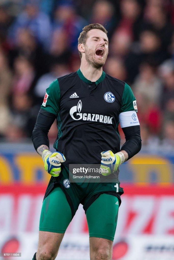 Ralf Faehrmann of Schalke reacts during the Bundesliga match between Sport-Club Freiburg and FC Schalke 04 at Schwarzwald-Stadion on November 4, 2017 in Freiburg im Breisgau, Germany.
