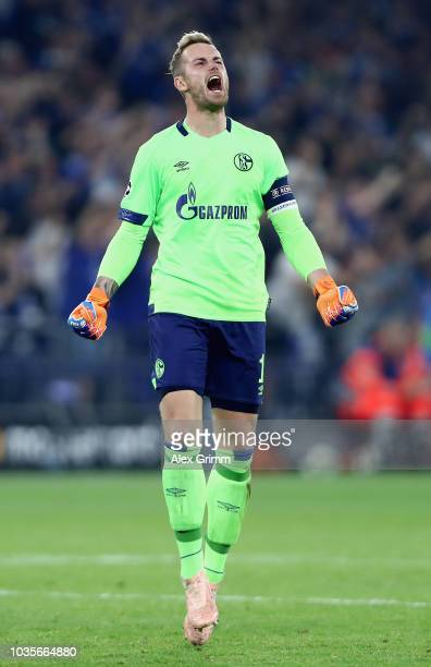 Ralf Fährmann of FC Schalke 04 celbrates the goal of Breel Embolo of FC Schalke 04 during the Group D match of the UEFA Champions League between FC...