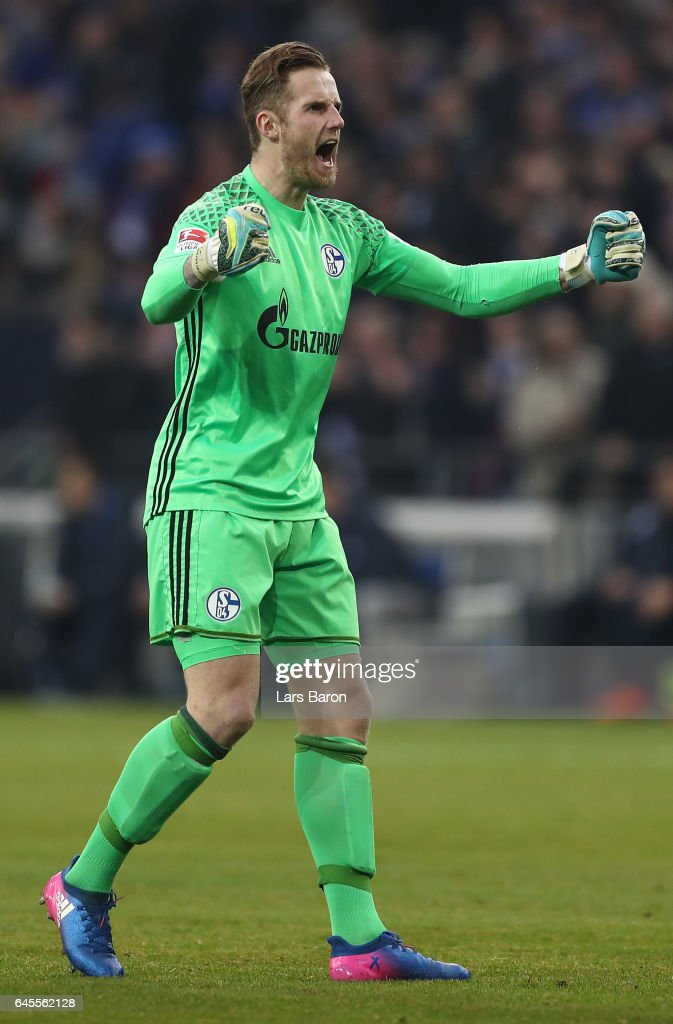 Ralf Fhrmann of Schalke celebrates the first goal during the Bundesliga match between FC Schalke 04 and TSG 1899 Hoffenheim at Veltins-Arena on February 26, 2017 in Gelsenkirchen, Germany.