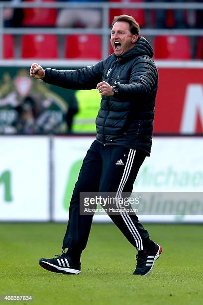 Ralf Hasenhuettl head coach of Ingolstadt celebrates the first team goal during the Second Bundesliga match between FC Ingolstadt and Karlsruher SC...
